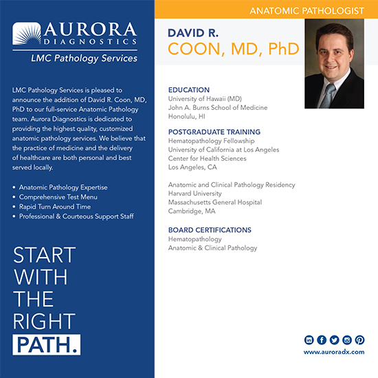 David R  Coon, MD, PhD - Aurora Diagnostics